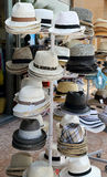 Hats. For sale on a stand stock images