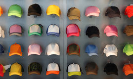Hats. Colourful hats in an exhibition royalty free stock photos