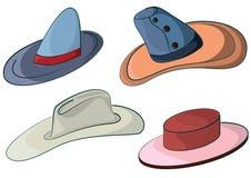 Hats. Four hats, cowboy, woman, man, sorcerer Stock Image