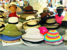 Hats. A close up of hats in a outdoor market royalty free stock photos