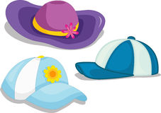 Hats. An illustration of assorted hats and caps royalty free illustration