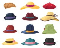 Free Hats And Headgears. Stylish Summer Male And Female Headwear, Vintage Classic And Modern Hats, Clothes Accessory Colorful Royalty Free Stock Images - 177351379