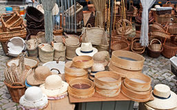 Hats and basketry. In a fair shop Stock Photo