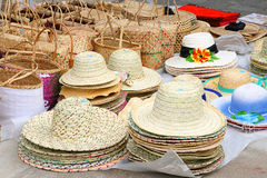 Hats and baskets, Rodrigues Island Stock Photography