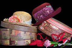 Hats and Boxes. Hats, Shoes, and Hat Boxes Royalty Free Stock Images