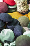 Hats. Bunch of hats at street market Royalty Free Stock Photography
