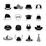 Hats And Caps  Black Icons Royalty Free Stock Photo