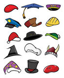 Hats caps collection. Cartoon art drawing illustration of a hats caps collection stock illustration