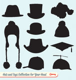 Hats and Caps Collection. Silhouette collection of hats and other odd caps for your head Stock Photo