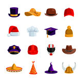 Hats And Caps  Flat Color Icons Royalty Free Stock Photo