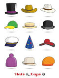 Hats and Caps Icon Set Stock Image