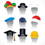 Hats collection. Hats - illustrations of various Hats and Caps - inc santa hat, mortar board, jester hat, hardhat, chef hat etc Royalty Free Stock Photography