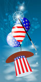HATS WITH THE COLOR OF THE AMERICAN FLAG. PRESIDENTIAL HATS USA. MAGIC AND MIRACLE. AIR BALLOONS. SHAKE THE WITCH MAGIC. Vertical orientation of the sheet Stock Image