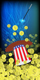 HATS WITH THE COLOR OF THE AMERICAN FLAG. PRESIDENTIAL HATS USA. MAGIC AND MIRACLE. AMERICAN DOLLARS, MONEY. IRON COINS. SHAKE THE WITCH MAGIC. Vertical Royalty Free Stock Photography