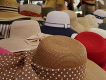 Hats with colorful ribbons Stock Photo
