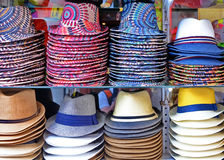 Hats. Colorful hats for sale at market Stock Photography