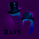 Hats a dark background Stock Image