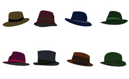 Hats of different colors. Raster. Raster Royalty Free Stock Photo