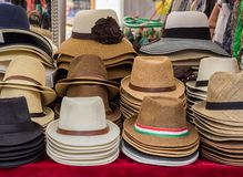 Hats on display on market stall Stock Images