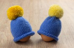 Hats for eggs Royalty Free Stock Photography