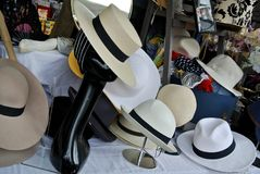 The hats exposition. Mannequin face and exposition hats Royalty Free Stock Photo