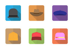 Hats fashion icons set , flat design Stock Photos