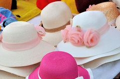Hats for female. Various of female hat in different color and beautiful decoration, shown as same type and difference or colorful dress and clothing Stock Images