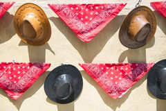 Hats and handkerchiefs cowboy style Royalty Free Stock Image