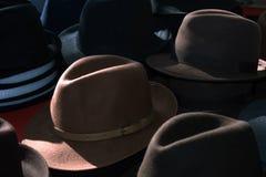 Hats. Headdresses. Sale of hats. It is a lot of men`s hats. Hats men`s sale. Accessories for men Stock Image