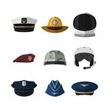 Hats and helmets. Headgear of soldier, aviator, policeman and captain. Icon of cap in flat style. Vector illustration royalty free illustration