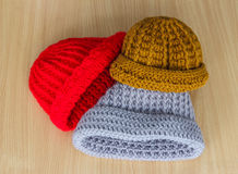 Hats knitting handmade Stock Photography