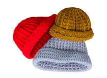 Hats knitting handmade Royalty Free Stock Photos