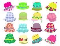 Hats for little girls. Set of summer hats for little girls isolated on white background stock illustration