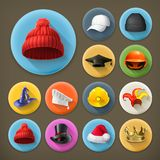 Hats long shadow icons. Set with Hats long shadow icons vector illustration