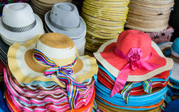 HATS. LOTS OF HATS AT THE WEEKEND MARKET IN BANGKOK,THAILAND Royalty Free Stock Images