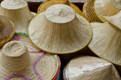 Hats made ​​of palm leaves and bamboo. Royalty Free Stock Images