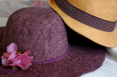 Hats. Male and female hat with a pink flower stock images