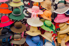 Hats on a market. In Cuenca, Ecuador stock photography