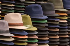 Hats. On a market in Ecuador stock image