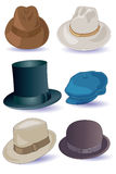 Hats for Men. Six different kinds of mens hats stock illustration