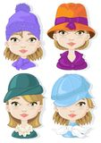 Hats. Model with four different hats stock illustration