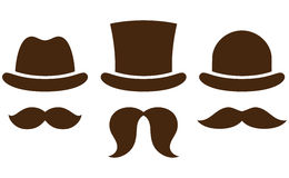 Hats with mustaches Royalty Free Stock Photo