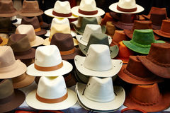 Hats in outdoor store stacked in rows Stock Photography