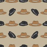 Hats pattern on beige hand drawn. Objects isolated on beige Royalty Free Stock Image