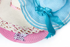 Hats  ready for summer. on white background. Hats and iPad ready for summer. on white background Stock Photo