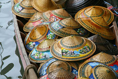 Hats on riverboat. In Thailand Royalty Free Stock Images