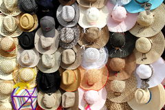 Hats for Sale. Colorful hats for sale at the market royalty free stock images