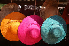 Hats for sale. Three hats for sale in an african market Royalty Free Stock Photography