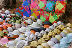 Hats for sale. Collection of different hats for sale at a market in Ambositra, Madagascar Royalty Free Stock Photo
