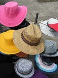 Hats for Sale. Bright and colourful hats for sale in Ubud, Indonesia royalty free stock photo